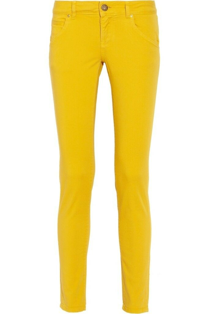 M by MISSONI Mustard YELLOW Denim JEANS Mid-Rise SKINNY Stretch 26  320