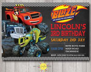 Image Is Loading Printable Boy Birthday Chalkboard Invitation Blaze Amp Monster