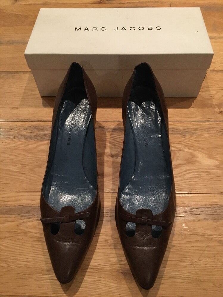 MARC JACOBS Brown Leather Kitten Heel shoes Cutout Toe EU 40 UK 7.5 US 9.5