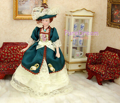 Dollhouse Miniature Victorian Dolls Lady/Girl Lace Skirt And Plumed Hat PP007B