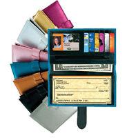 Brown Metallic Checkbook Wallet Id Window Zip Coin 6