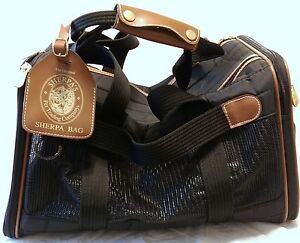 Vtg Original Sherpa Bag Pet Carrier Black Travel Bag