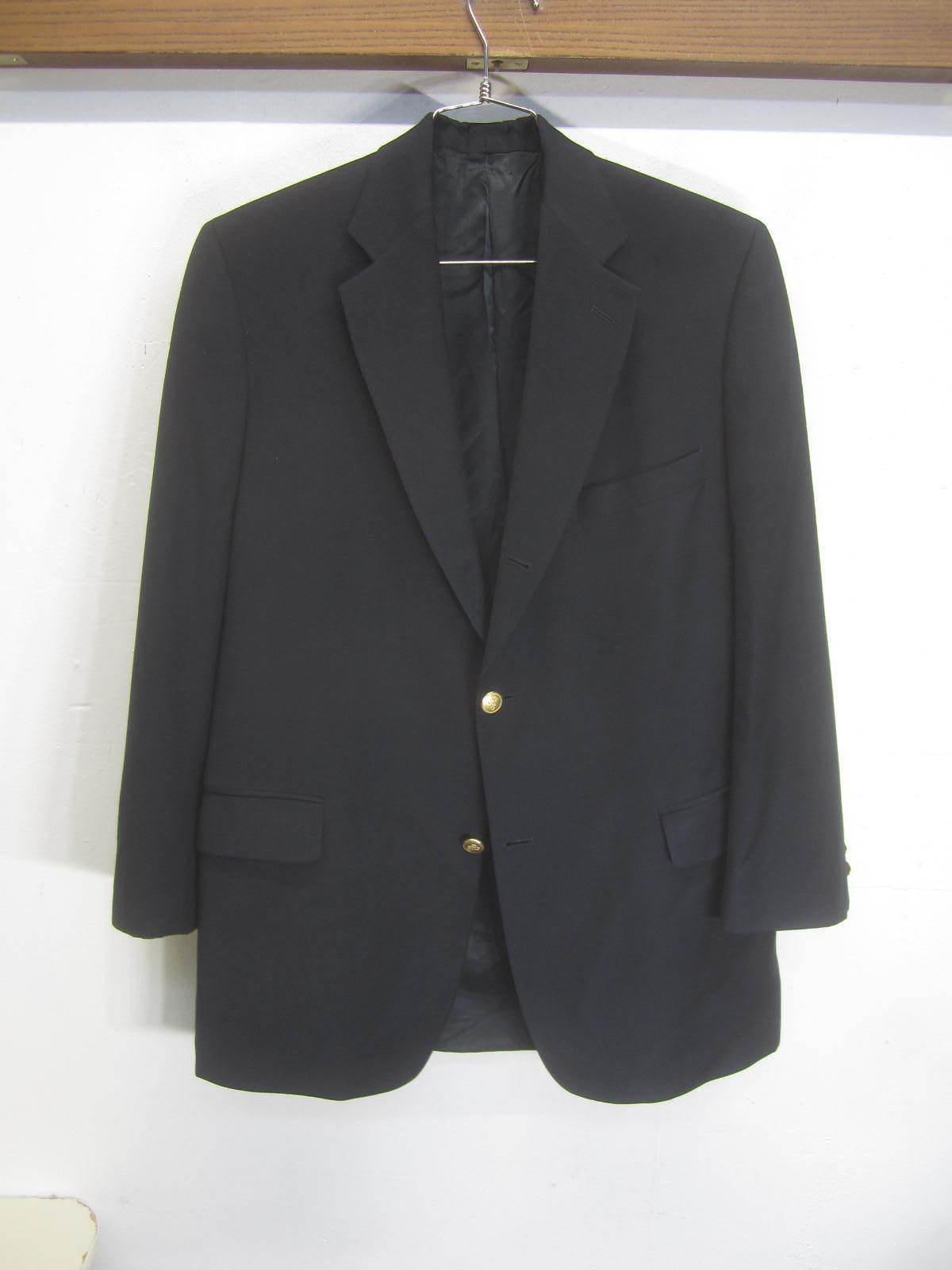 Vtg Brooks Brothers Blazer Sport Coat 3 btn wool/cashmere blend navy sz 42S