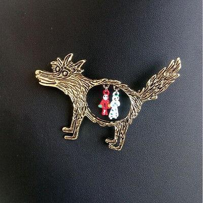 Retro Cartoon Bronze Wolf And Red Riding Hood Animal Brooch Pin Unisex Jewelry