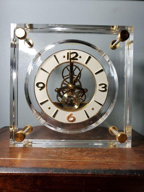 Vintage Seiko Lucite Mantle / Desk Quartz Skeleton Clock Good Working Condition