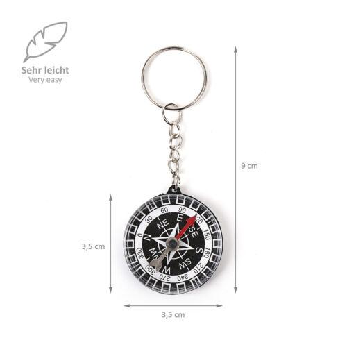 8 WELLGRO® Schlüsselanhänger Kompass Anhänger Kindergeburtstag Mitgebsel Tombola