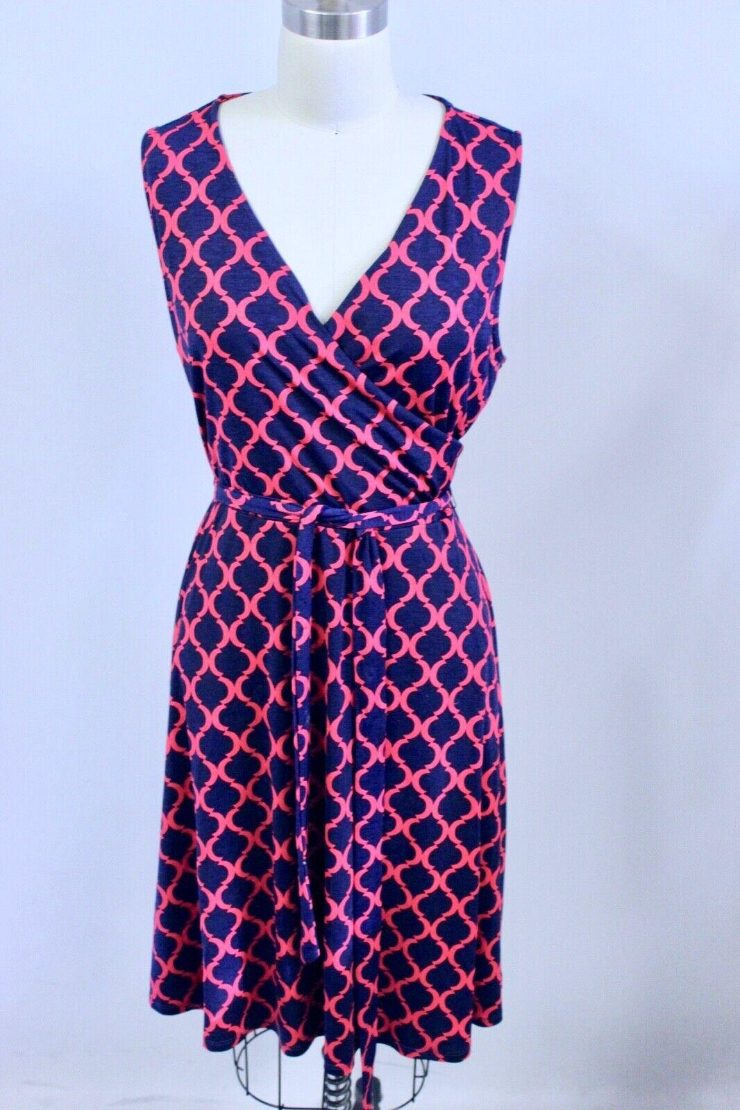 41 Hawthorn Stitch Fix Red bluee Quatrefoil Geometric Print Dress XL Tie Belt