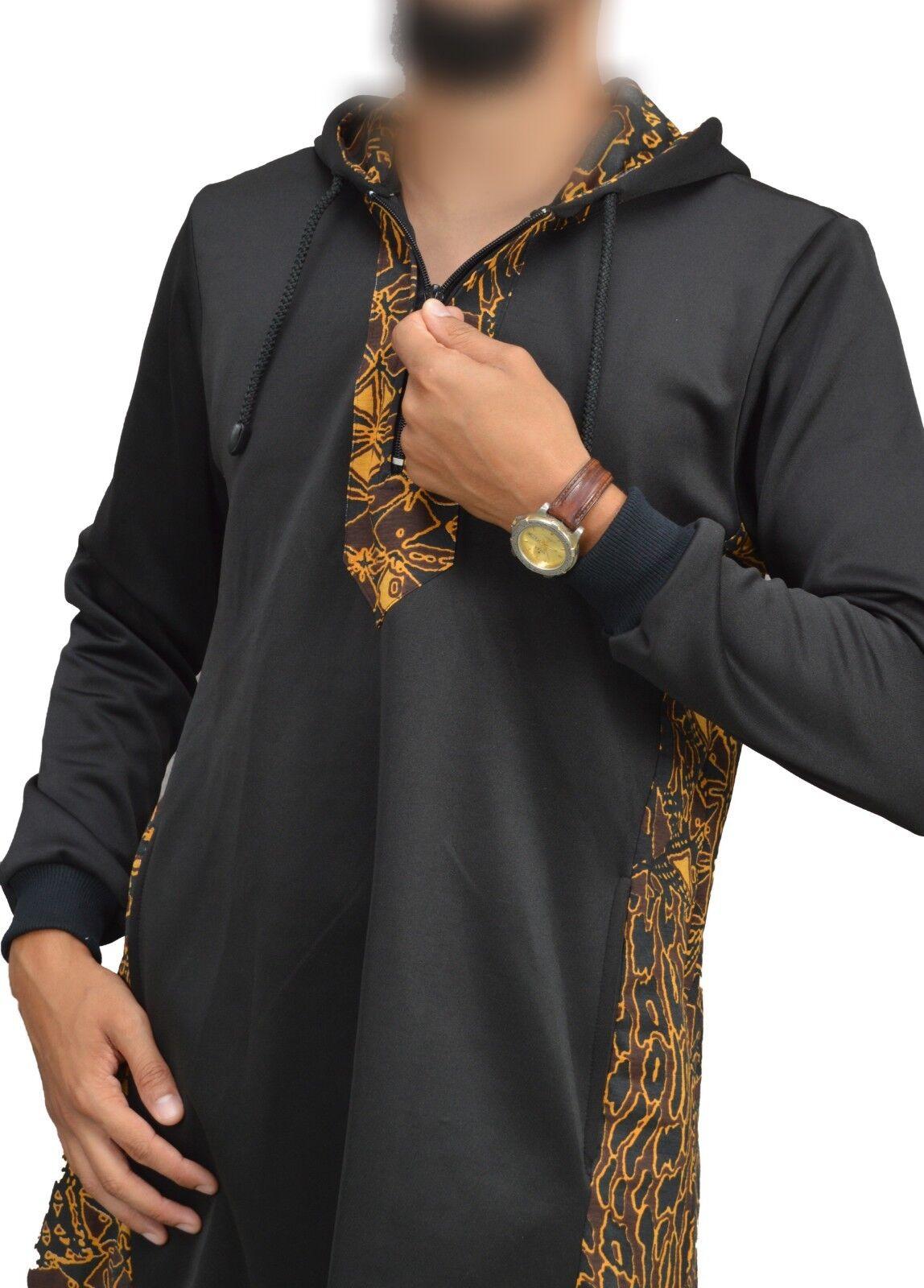 1 x Sunna Oberteil Islamische Kleidung Al Amana Qamis Afrikano black-orange L