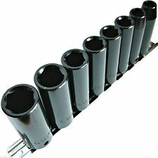 "8pc Deep Impact Sockets 3/8"" Deep Drive Cr-v 8-19mm 6-Point socket Set And Rail"