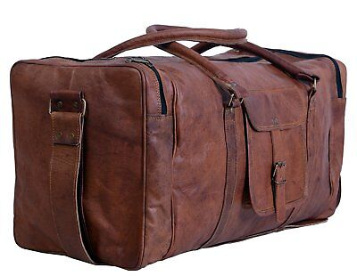 Men/'s Genuine Leather Outdoor Gym Duffel Bag Travel Weekender Overnight Luggage.