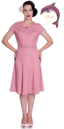 4326 Hell Bunny Ingrid Rockabilly Vintage Tea Party Dress PINK 1940s//50s WW2