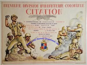 French-WW2-certificate-for-Croix-de-Guerre-for-African-9th-Colonial-Infantry-Div
