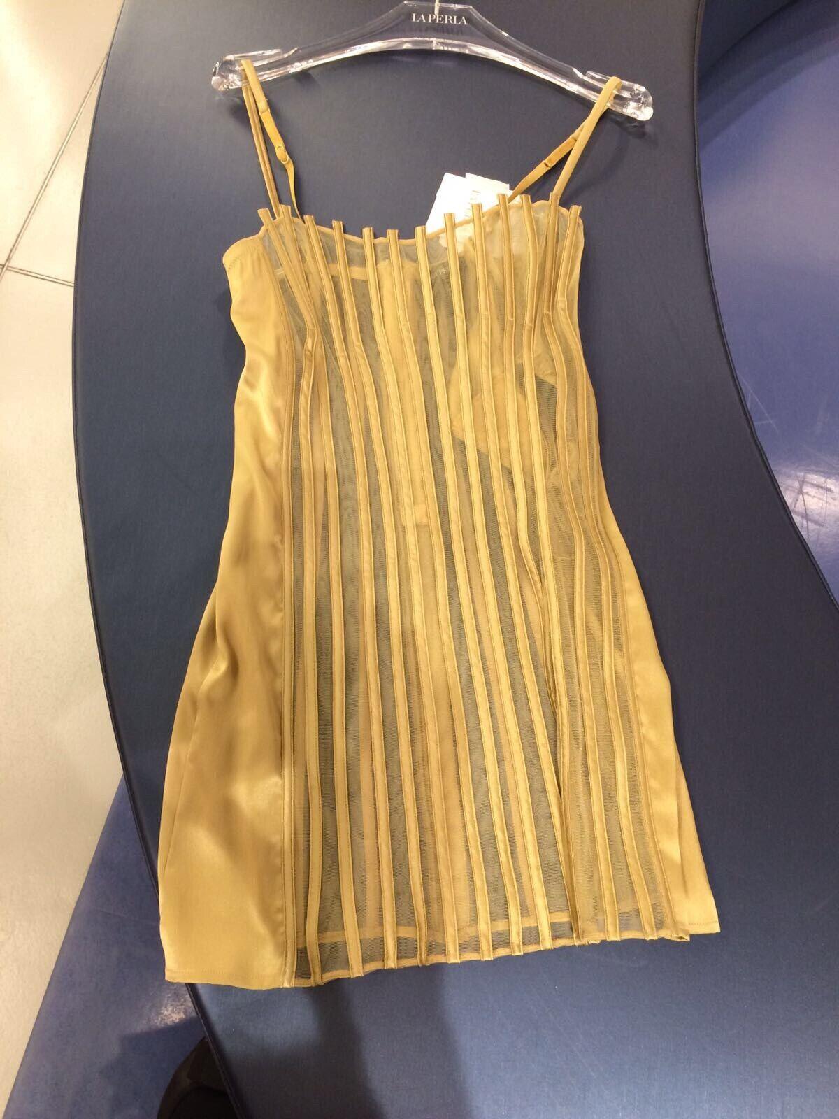 La Perla Graphique Couture gold Chemise   Slip Dress - Size IT 1   XSmall