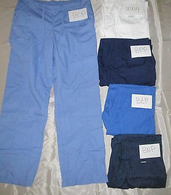 Women Chef Pant Elastic Waist Easy Fit Pull on Navy Sz M to XL Tall
