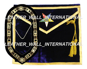 Details about OES WORTHY PATRON /MATRON MASONIC APRON AND CHAIN COLLAR SET