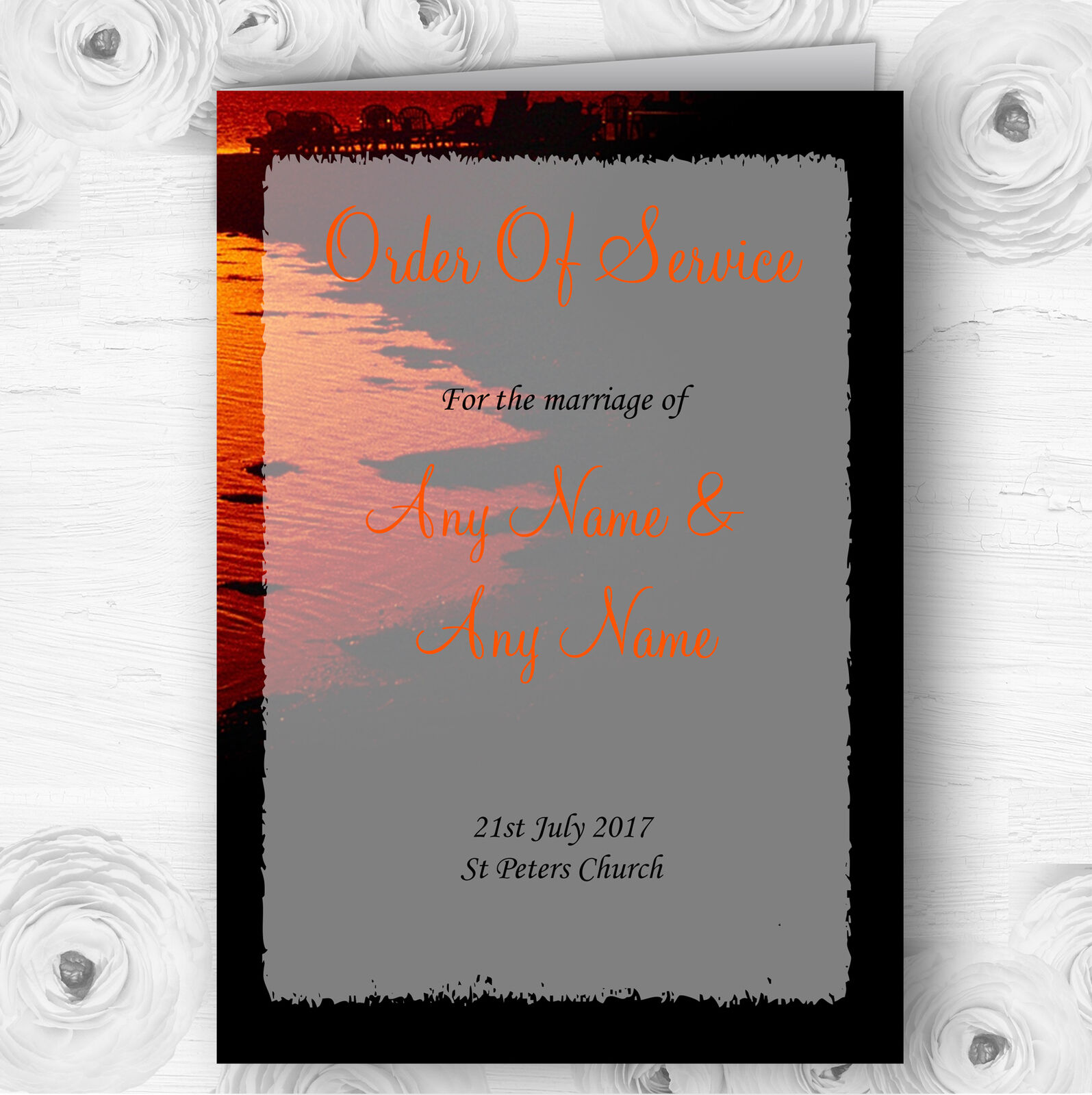 Couple On The Beach At Sunset Jetting Off Abroad Wedding Cover Order Of Service