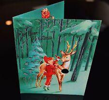 Vintage UNUSED Christmas Card ELF TYING JINGLE BELL ONTO DEER REINDEER SANTA