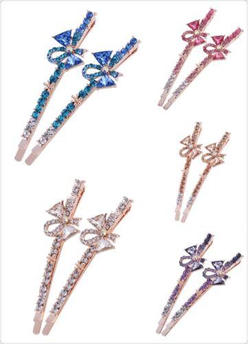 USA Bobby Pin Rhinestone Crystal Hair Clip Hairpin Long Bowknot Gold Purple