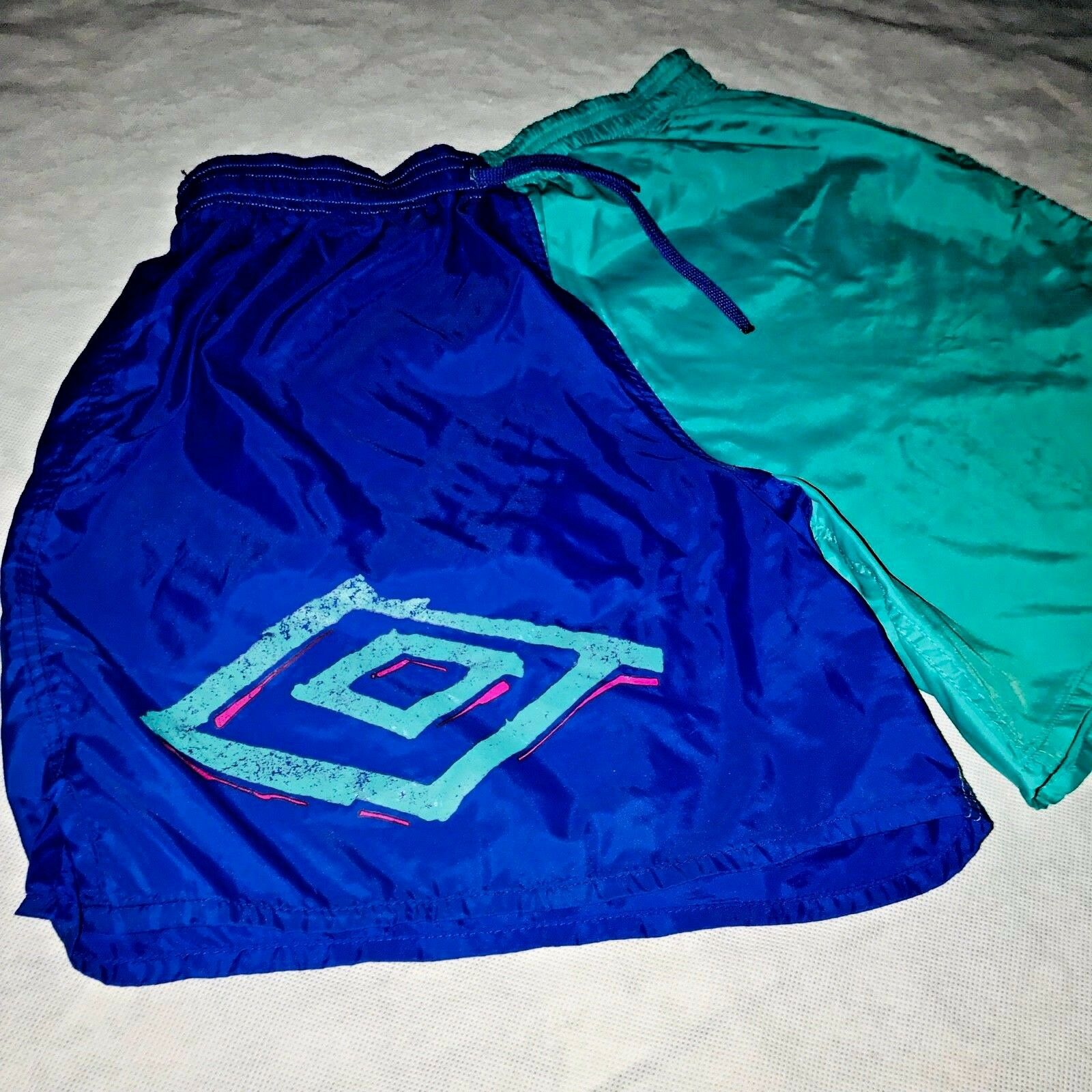 db7e43c3c1a Rare Vintage 90s Umbro Nylon Glanz Soccer Shorts Teal Green Purple Silky  Medium