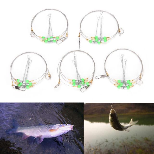 5X Anti-Winding 3 Swivel String Fishing Hook Steel Rigs Wire Leader Hook SteelHQ