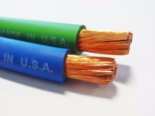 12/' FT 2 AWG GAUGE  WELDING BATTERY CAR CABLE 6/' GREEN  6/' BLUE USA NEW GROUND