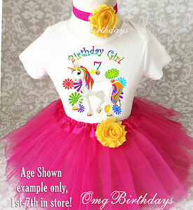 Image Is Loading Cute Pink Rainbow Unicorn Girl 7th Birthday Tutu