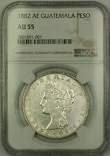 1882 AE Guatemala Silver Peso Coin NGC AU-55