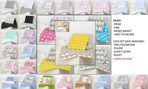 PRAM-CRIB-MOSES-BASKET-BABY-SET-4-PC-INC-DUVET-PILLOW-PILLOW-CASE-DUVET-COVER