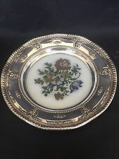 "Wallace ""Rose Point"" Sterling Silver Rim Serving Dish Or Trivit #6510"