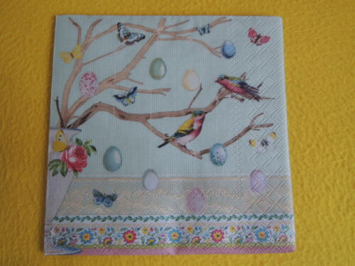 5 Servietten Ostern Vögel Schmetterlinge Vase Eier Serviettentechnik 1//4 1//2