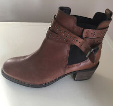 Next Women Tan Leather Ankle Boots UK 7 BNWT