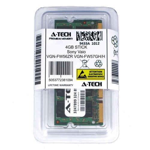 4GB SODIMM Sony VGN-FW56ZR VGN-FW57GH//H VGN-FW590 CTO VGN-FW590F3B Ram Memory