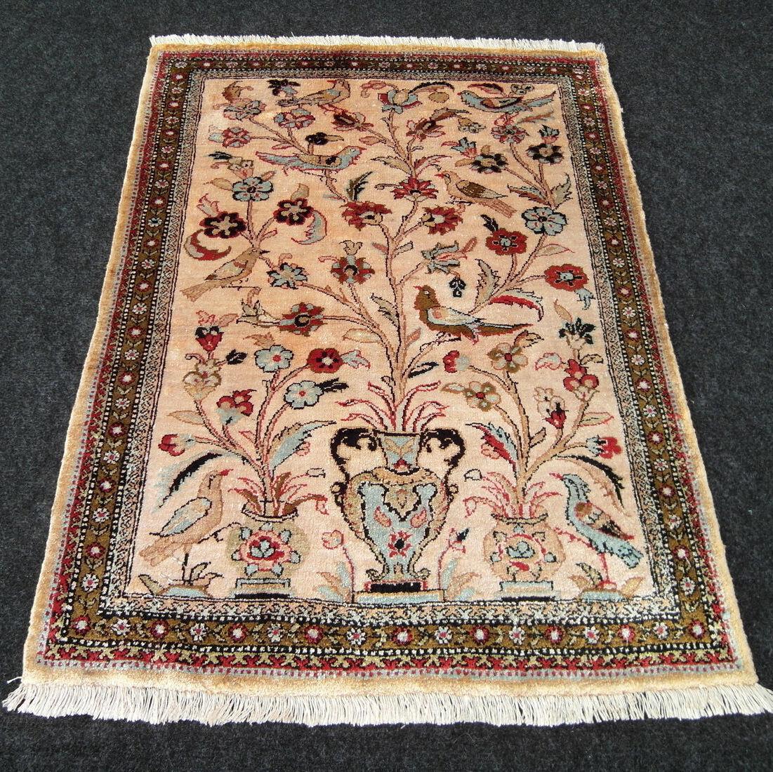 Orient alfombra seda 77 x 55 cm alfombra persa seidenteppich jarrón Silk Carpet Rug