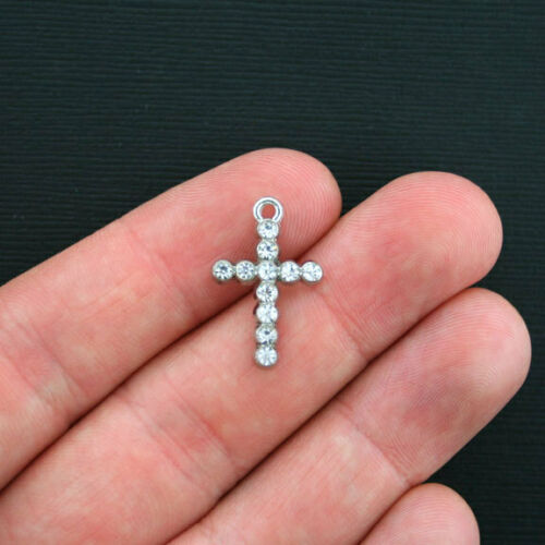 SC3459 5 Cross Charms Antique Silver Tone with 11 Rhinestones