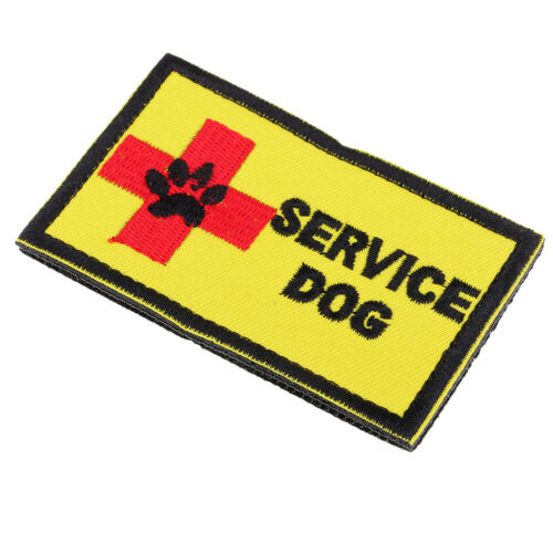 Yellow Embroidered SERVICE DOG Patch Decorative Applique Sew on Jeans Bags