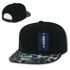 Black & Gray Leopard Print Flat Bill Snapback Baseball Ball Cap Caps Hat Hats