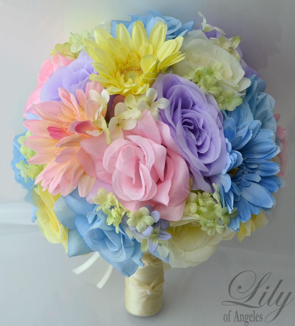 17pcs Robe de Mariage Bouquet Soie Décoration Fleur Paquet Rose Pastel bleu Spa