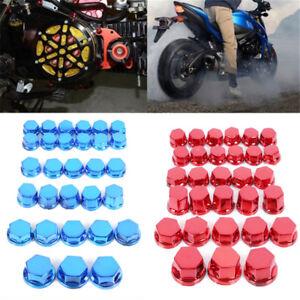30Pcs Multi-Color Motorcycle Screw Nut Bolt Cap Cover Modification Accessory LD