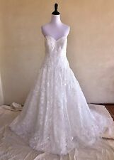 OLEG CASSINI Sweetheart Strapless Tulle Lace Drop Waist Wedding Dress 8 NWT