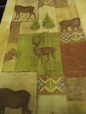 NIP Fabric~SHOWER CURTAIN~BEARS~MOOSE~BUCK Lodge~Cabin in Woods~Tan~Hunting Deer