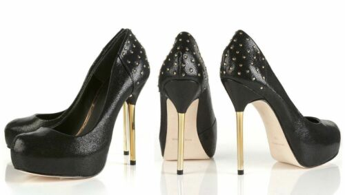 TOPSHOP PREMIUM BLACK LEATHER PARTY PLATFORM SHOE WITH GOLD STUDS METAL HEEL