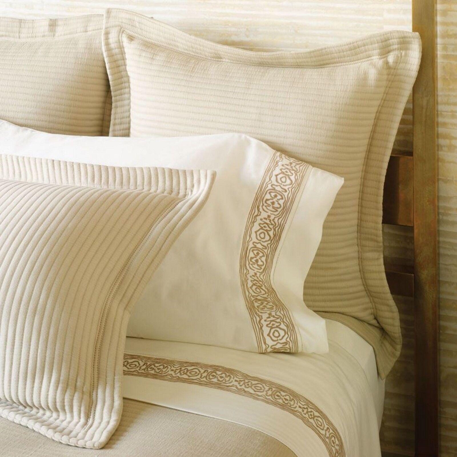 Sferra Channel Sand Standard Sham Ribbed Stripe Cotton Matelasse Wearstler NEW