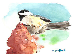 Penguin art print of a watercolor ACEO Limited Edition-We are together