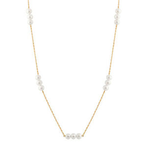 10K Gold Chain Necklace with 6-7mm White Round Shaped Freshwater Pearls PC-3