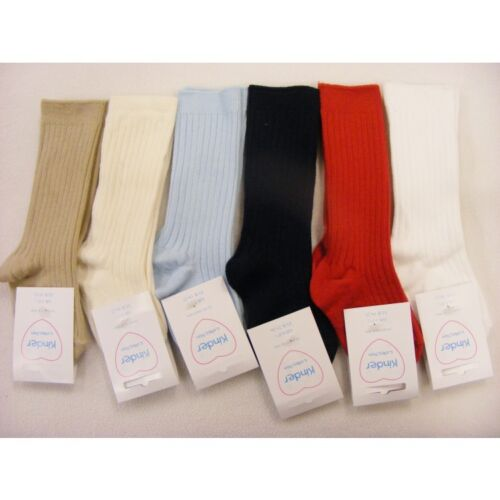 Enfants Bébé-Infant Boys Spanish Knee Length Plain Ribbed Socks Shoe Size 0-12