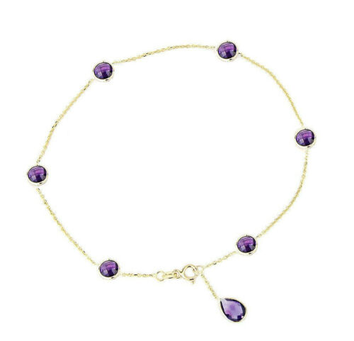14K Yellow Gold Gemstone Anklet With Round and Pear Shaped Amethysts 10.5 Inches