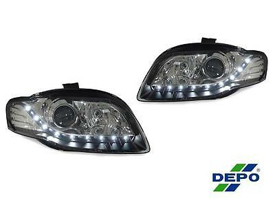 Audi A4 B7 04-08 Black and Chrome Projector LED DRL R8 Style Headlights DEPO