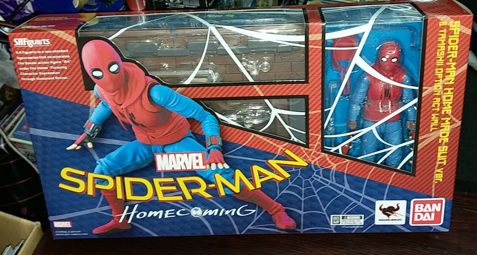 Bandai S.H.Figuarts Spider-man Homecoming Home Made Made Made Suit & Tamashii Option Wall 6443ac