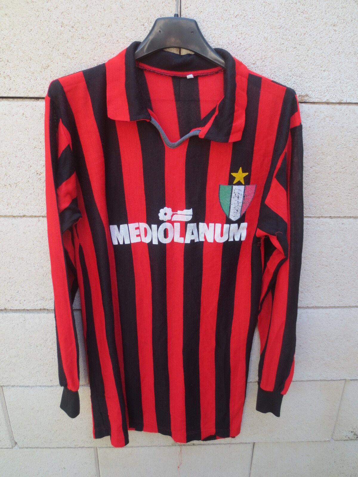VINTAGE Maillot MILAN AC 1989 MEDIOLANUM maglia calcio football ancien shirt M