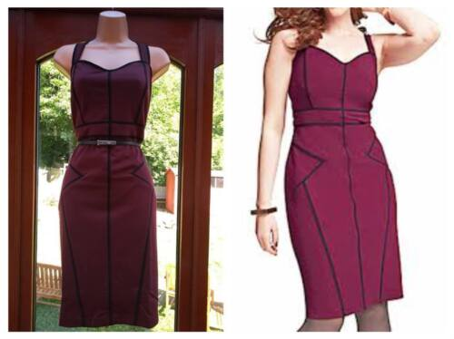 Simply Be Damson Bodycon Pencil Piping Sweatheart Contrast Dress Plus Size 14-24